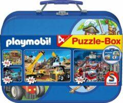 Schmidt puzzelbox Playmobil jongens karton blauw 5-delig