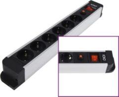 Olympia Aluminium 6-fach Steckdosenleiste mit Überlastschutz und Ein/Aus-Schalter SL 2620S Premium