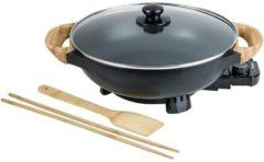 Zwarte Bestron AEW100AS elektrische wok met bamboehandgrepen, 32 cm