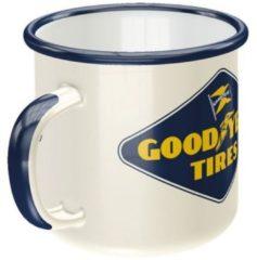 Blauwe Nostalgic Art Merchandising Nostalgic Art Emaille koffietas Goodyear Logo
