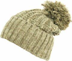 AOP Warme wintermuts met omslag met pompon van acryl kleur beige melee maat one size