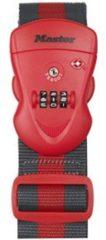 Rode Master Lock hangslot met combinatie band TSA polypropyleen rood 2 m x 5 cm