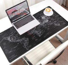 M-Glider Muismat XXL -- 90x40Cm -- Wereldkaart - zwart -- Full Collor -- Worldmap Mousepad -- Waterproof