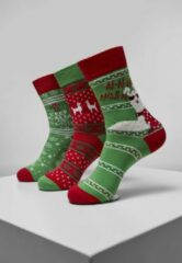 Rode Urban classics Christmas - Kerstmis Lama Socks 3-Pack Geschenk - Cadeau - Kerst - Feestdagen