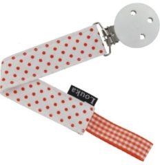 Louka speenkoord wit met kleine oranje stip de luxe -houten clip
