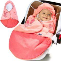 Merkloos / Sans marque Babydeken met voetenzak, roze, gevoerd Babydeken met voetenzak, roze, gevoerd
