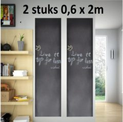 VidaXL 2 stuks Krijtbord Sticker - Schoolbord Sticker - Kinder Krijtsticker - Muursticker stickerrollen + Kalkbord Krijtjes, 60 x 200 cm, zwart , merk i12Cover
