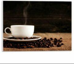 Beige KuijsFotoprint Forex - Kopje Koffie met Koffiebonen - 40x30cm Foto op Forex