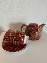 Rode Alperstein Designs - theeset - porselein -Teddy Jakamarra Gibson - Aboriginal collectie - geschenkverpakking