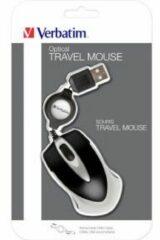 Verbatim Go Mini Muis USB Optisch Met kabelroller Zwart, Metallic