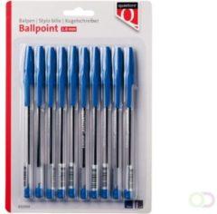 Balpen Quantore stick blauw blister, 10 stuks