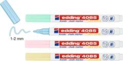 Krijtstift edding 4085 - 4 kleuren krijtmarkers: pastel-geel, pastel-groen, pastel-roze en pastel-blauw - ronde punt 1-2mm