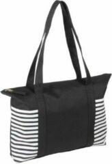 Merkloos / Sans marque Strandtas zwart/wit met streepmotief 44 cm - Strandartikelen beach bags/shoppers met ritssluiting