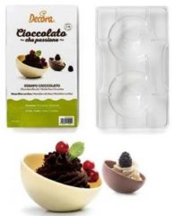 Transparante Chocolade mal Halve bol, 2x 75mm - Decora