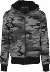 Urban Classics Vest met capuchon -L- Camo zip Camouflage Groen
