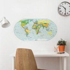 Crearreda - Wereldkaart - Muursticker – Kleur – Ovaal - 65,5 x 34 cm (L x H)