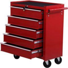 HOMCOM Mobiler Werkstattwagen mit 5 Schubladen Fahrbarer Werkzeugwagen Werkzeugkasten Rollwagen
