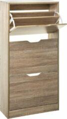 4goodz schoenenkast 3 lades 60x24x118 cm - voor 18 paar - bruin eiken