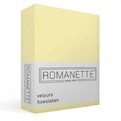 Gele Romanette Velours Hoeslaken - 80% Katoen - 20% Polyester - 2-persoons (140/150x200/220 Cm) - Vanille