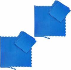 Blauwe Relaxdays 16x fitness mat - beschermmat - sportmat - puzzelmat - vloermat – bescherming