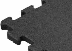 Sporttrader Rubber Tegel - Zijstuk - Puzzelsysteem - 50 x 50 x 2,5 cm - Zwart