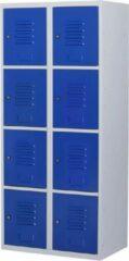Povag Lockerkast metaal met slot - 8 deurs 2 delig - Grijs/blauw - 180x80x50 cm - LKP-1061