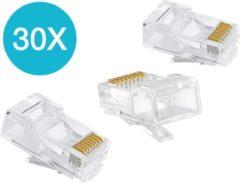 Transparante By Qubix 30 x RJ45 CAT5e / CAT6 plug / internet kabel connector - Kabel aansluiting - UTP / RJ45 stekker