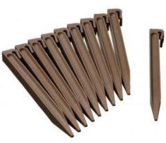 Bruine NATURE Zakje van 10 ankers voor tuinrand in polypropyleen - H 26,7 x 1,9 x 1,8 cm - Beige taupe