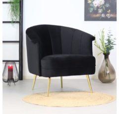 Livin24 Moderne fauteuil Amy velvet zwart