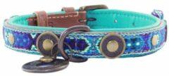 Dwam Halsband Boho Juan Blauw&Bruin - Hondenhalsband - 21-27x2.0 cm