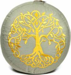 Beige Yogi & Yogini Meditatiekussen Levensboom Bio Katoen