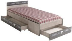 Einzelbett mit drei Schubkästen 'Fabric' Esche-grau Parisot Esche-grau