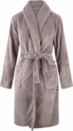Afbeelding van Relax Company Kinderbadjas - Taupe/Grijs - fleece - meisjes & jongens - ochtendjas- maat 134/140