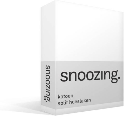 Afbeelding van Snoozing - Katoen - Split-hoeslaken - Lits-jumeaux - 200x210/220 cm - Wit