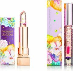 GLAMFOX Witch Flower Lipgloss + Lipstick 2 Stuks - 100% Echte Bloem - 24K Goudpoeder - Korean Skincare - Lip Plumper - Lip Plumping - Lipgloss Transparant - Lippenstift Langhoudend - Long Lasting - Essence Make Up - Beauty - Make-up - Lip Makeup