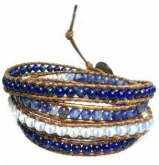 Blauwe Bela Donaco Wikkelarmband Blue Jeans B4 – Lapis Lazuli – Sodaliet – witte Jade – old schoolleer