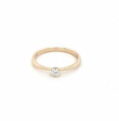 Sparkle Amsterdam Solitair - Ring - Geel gouden ring dames - 14 karaat - 0.10 ct. diamant 52