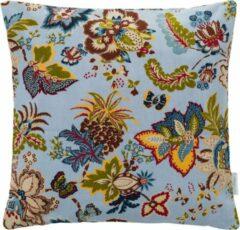 Bruine Cottonbaby sierkussenhoes bloemenprint lichtblauw mini ribfluweel