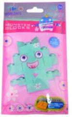 Groene Decopatent 6 Stuks - I love monsters Bricks bouwstenen - Uitdeelcadeautjes - Blind bag - Uitdeel - Traktatie voor kinderen - Meisjes