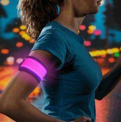 Mundo 2 stuks Led verlichte armband (roze) voor sportievelingen die hardlopen, fietsen en wandelen en verder iedereen die in het donker gezien wil worden - Sport armband - Hardloop verlichting lampjes - Veiligheidsband - Reflecterende armband