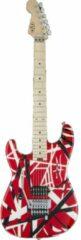EVH Striped Series Red, Black and White LH MN gitaar