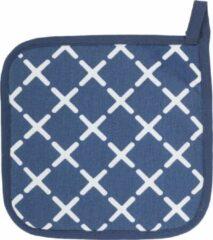Tiseco Complete set - Pannenlappen, ovenwanten en een schort - Met patroon - Blauw - 2+2+1