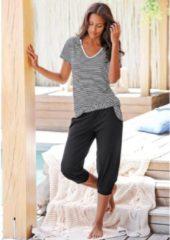 Zwarte Pyjama-corsaire à T-shirt rayé et pantalon décontracté H.I.S