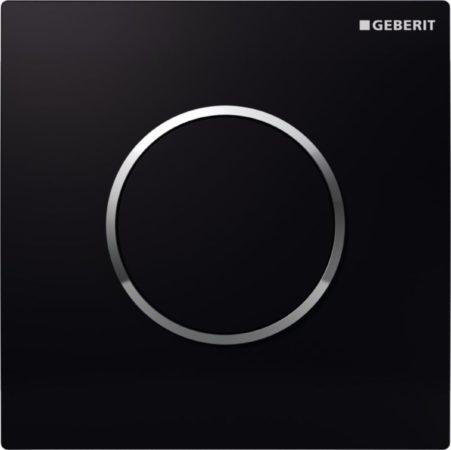 Afbeelding van Zwarte Geberit HyTouch urinoir stuursysteem pneumatisch met bedieningsplaat Sigma 10 zwart glans 116015km1