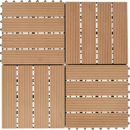 Afbeelding van Bruine VidaXL Terrastegels 30x30 cm 1 m² HKC teakkleur 11 st