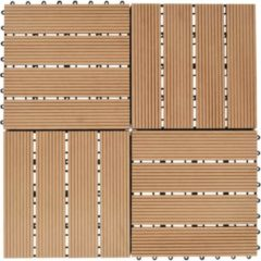 Bruine VidaXL Terrastegels 30x30 cm 1 m² HKC teakkleur 11 st