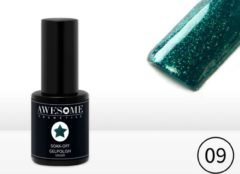 Awesome #09 Groen met fijne glitter Gelpolish - Gellak - Gel nagellak - UV & LED