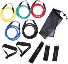 Rode Tunturi Fitness elastiek set - weerstandsbanden fitness - 5x incl. acc