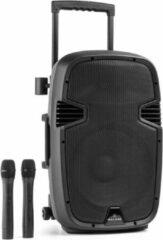 Zwarte Malone Bushradio 25 Actieve PA-Luidspreker 500W Bluetooth Accu USB SD MP3 VHF