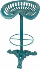 Trendybywave Barkruk - Gietijzeren barkruk Blauw - Klassiek - 78 cm hoog